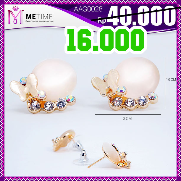 Anting Korea tusuk butterfly mutiara glossy with zircon